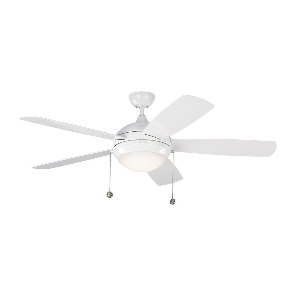 Monte Carlo Fans-5DIW52WHD-Discus 5 Blade 52 Inch Ceiling Fan with Pull Chain Control and Includes Light Kit  White Finish with White Blade Finish with Matte Opal Glass