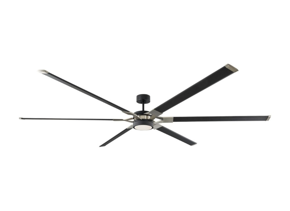 Monte Carlo Fans-6LFR96MBKD-Loft 6 Blade 96 Inch Ceiling Fan with Handheld Control and Includes Light Kit  Midnight Black Finish with Midnight Black Blade Finish