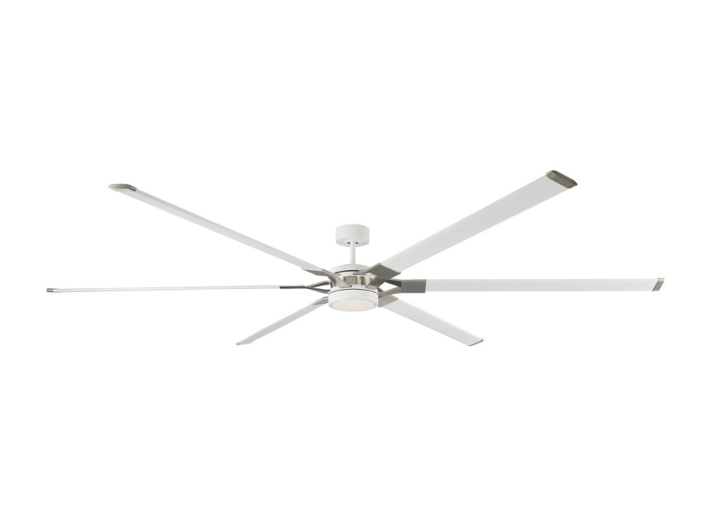 Monte Carlo Fans-6LFR96RZWD-Loft 6 Blade 96 Inch Ceiling Fan with Handheld Control and Includes Light Kit  Matte White Finish with Matte White Blade Finish