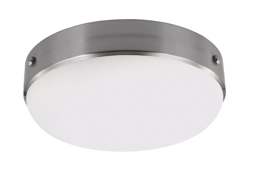 Feiss-FM390BS-Cadence - Two Light Flush Mount  Brushed Steel Finish with White Opal Etched Glass