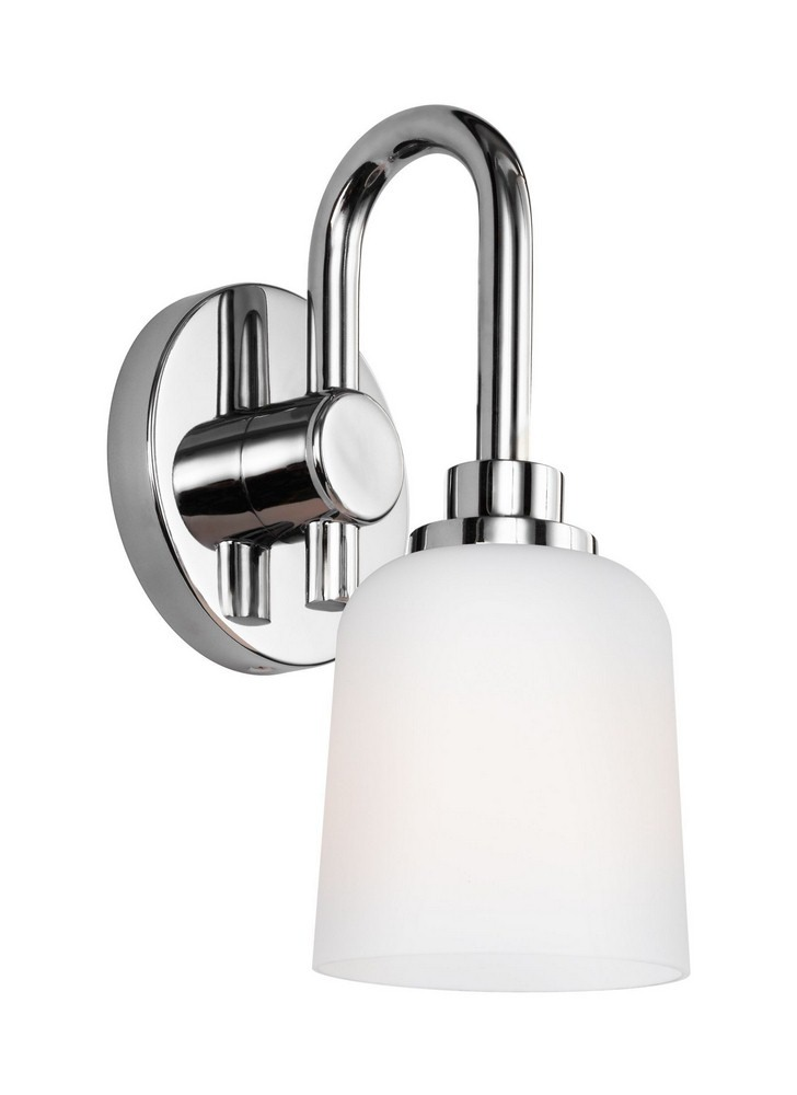 Feiss-VS23901CH-Reiser - One Light Wall Sconce  Chrome Finish with White Opal Etched Glass