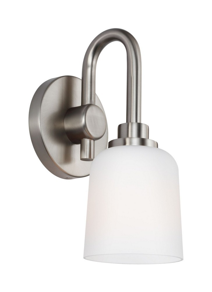 Feiss-VS23901SN-Reiser - One Light Wall Sconce  Satin Nickel Finish with White Opal Etched Glass