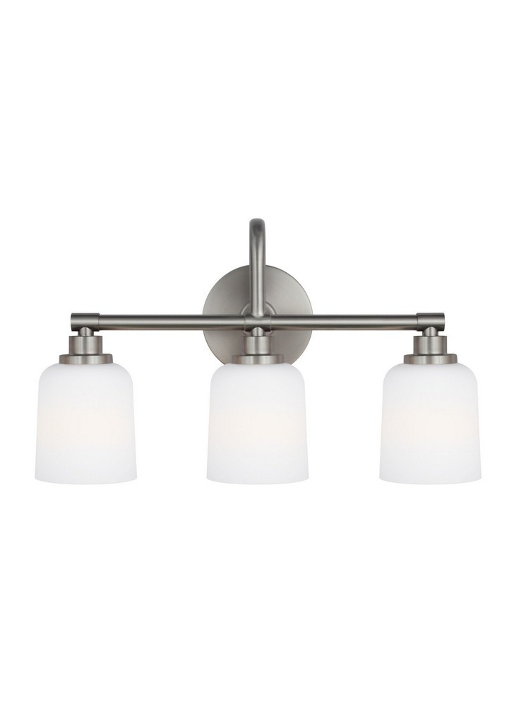 Feiss-VS23903SN-Reiser 3 Light Transitional Bath Vanity Approved for Damp Locations  Satin Nickel Finish with White Opal Etched Glass