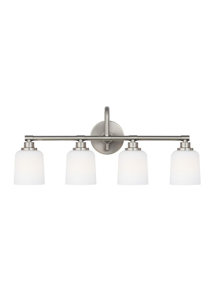 Feiss-VS23904SN-Reiser 3 Light Transitional Bath Vanity Approved for Damp Locations  Satin Nickel Finish with White Opal Etched Glass