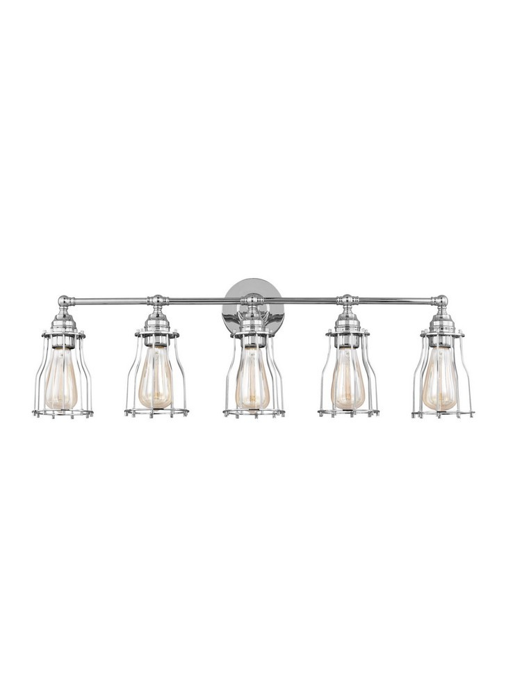 Feiss-VS24005CH-Calgary 5 Light Period Inspired Bath Vanity Approved for Damp Locations  Chrome Finish