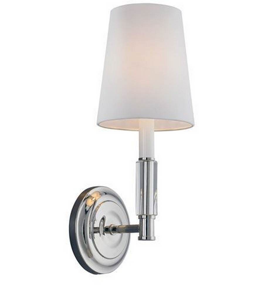 Feiss-WB1717PN-Lismore - One Light Wall Sconce  Polished Nickel Finish with WhiteFabric Shade