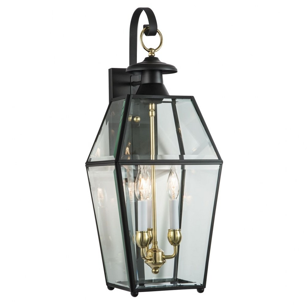 Norwell Lighting-1067-BL-BE-Olde Colony - Three Light Outdoor Wall Mount  Black Finish with Belved Glass