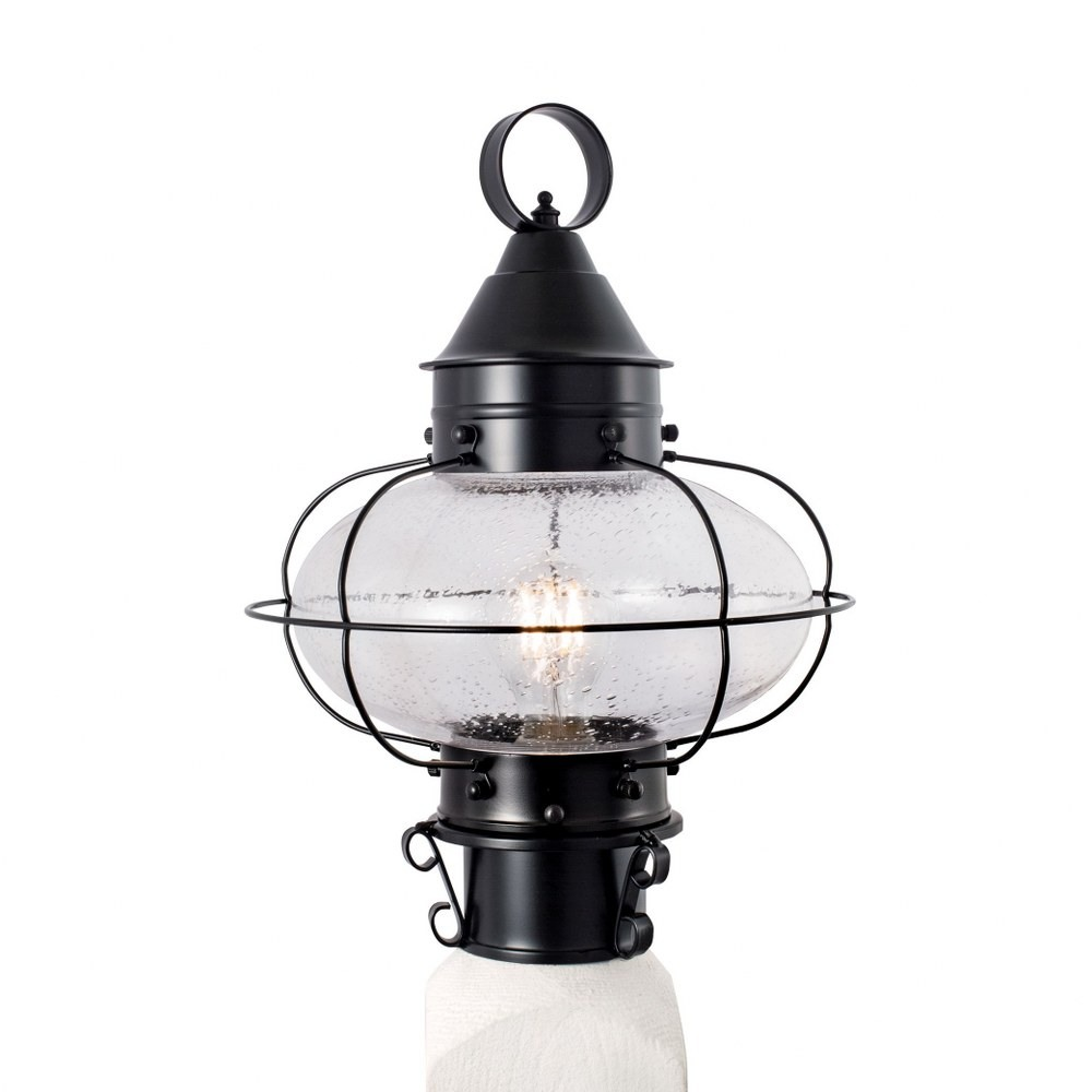 Norwell Lighting-1321-BL-SE-Cottage Onion - One Light Medium Outdoor Post Mount  Black Finish with Clear Glass
