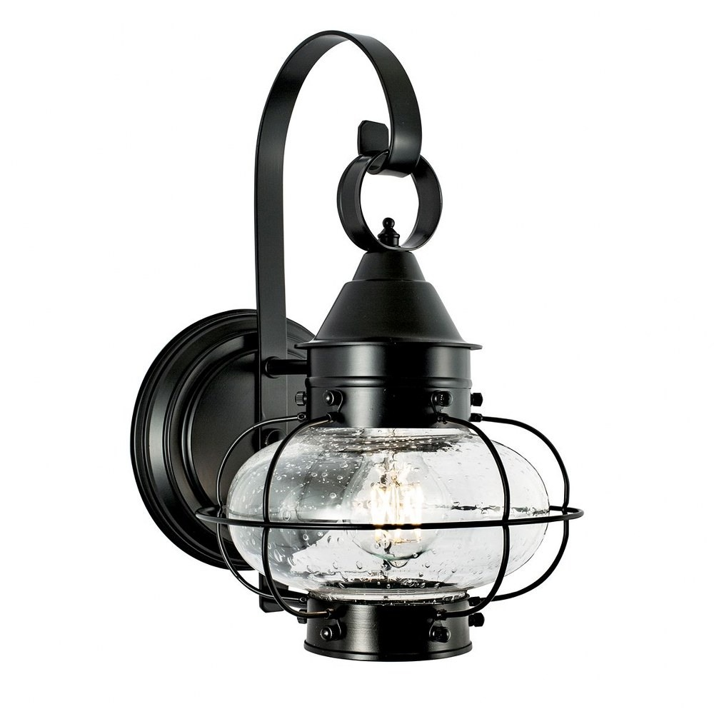 Norwell Lighting-1323-BL-SE-Cottage Onion - One Light Small Outdoor Wall Mount  Black Finish with Clear Glass