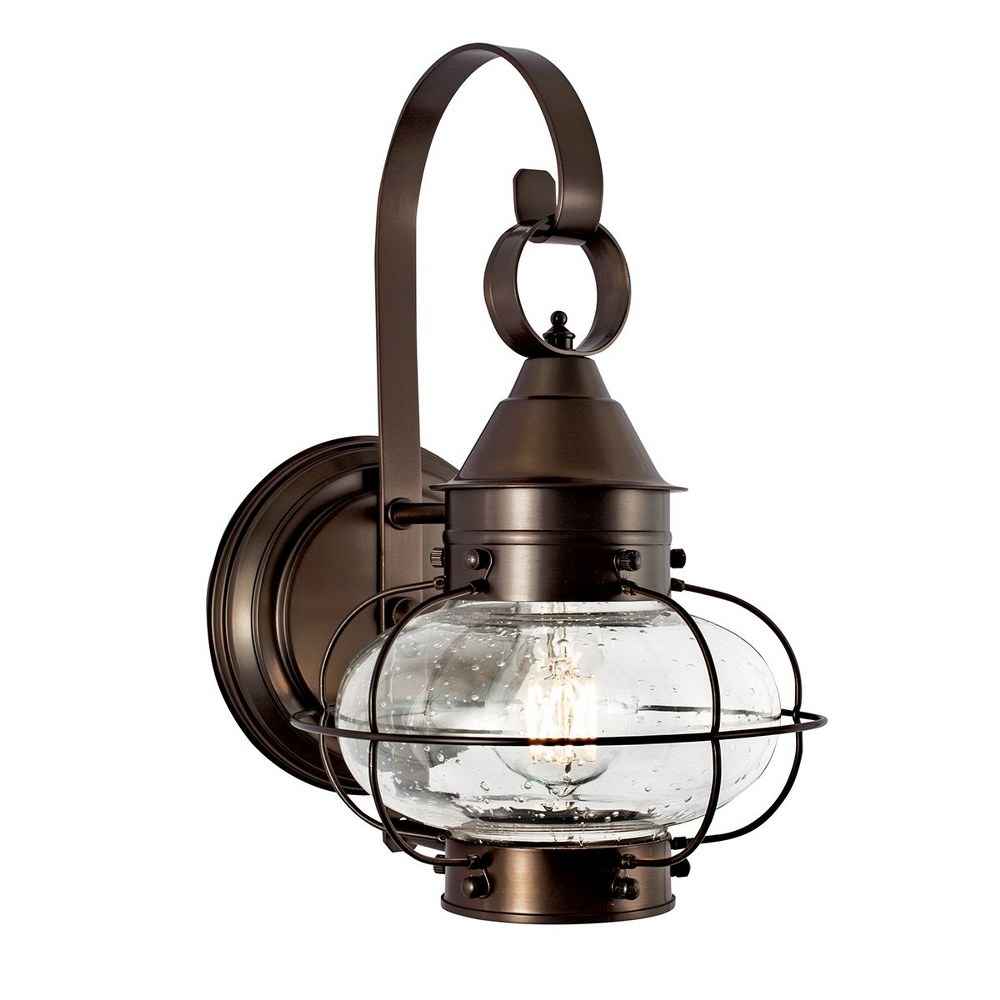 Norwell Lighting-1323-BR-SE-Cottage Onion - One Light Small Outdoor Wall Mount  Bronze Finish with Clear Glass