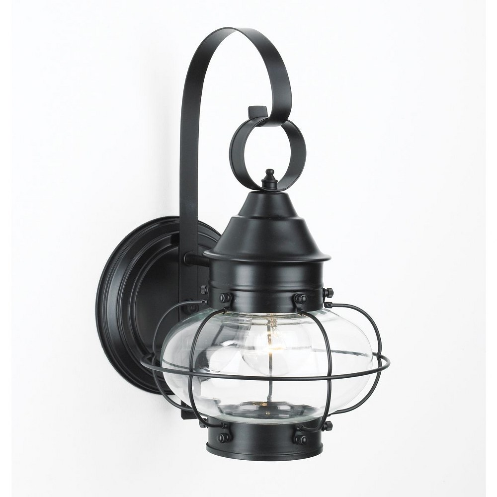 Norwell Lighting-1324-BL-CL-Cottage Onion - One Light Large Outdoor Wall Mount  Black Finish with Clear Glass