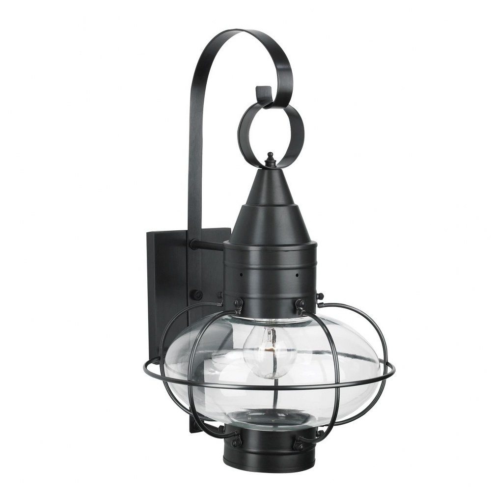 Norwell Lighting-1512-BL-CL-Classic Onion - One Light Medium Outdoor Wall Mount  Black Finish