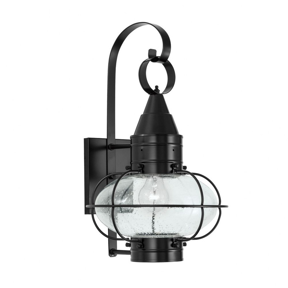 Norwell Lighting-1512-BL-SE-Classic Onion - One Light Medium Outdoor Wall Mount  Black Finish