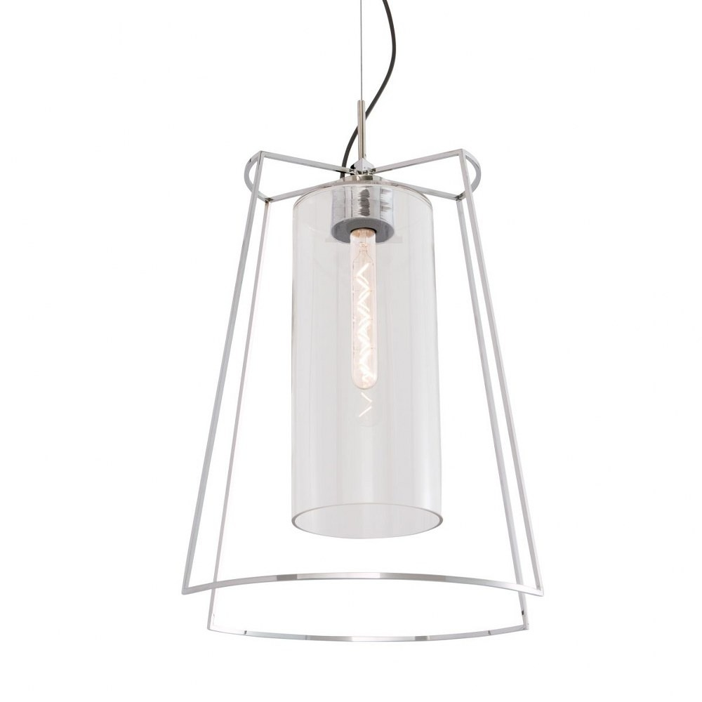 Norwell Lighting-5389-PN-CL-Cere - One Light Pendant  Polished Nickel Finish with Clear Glass