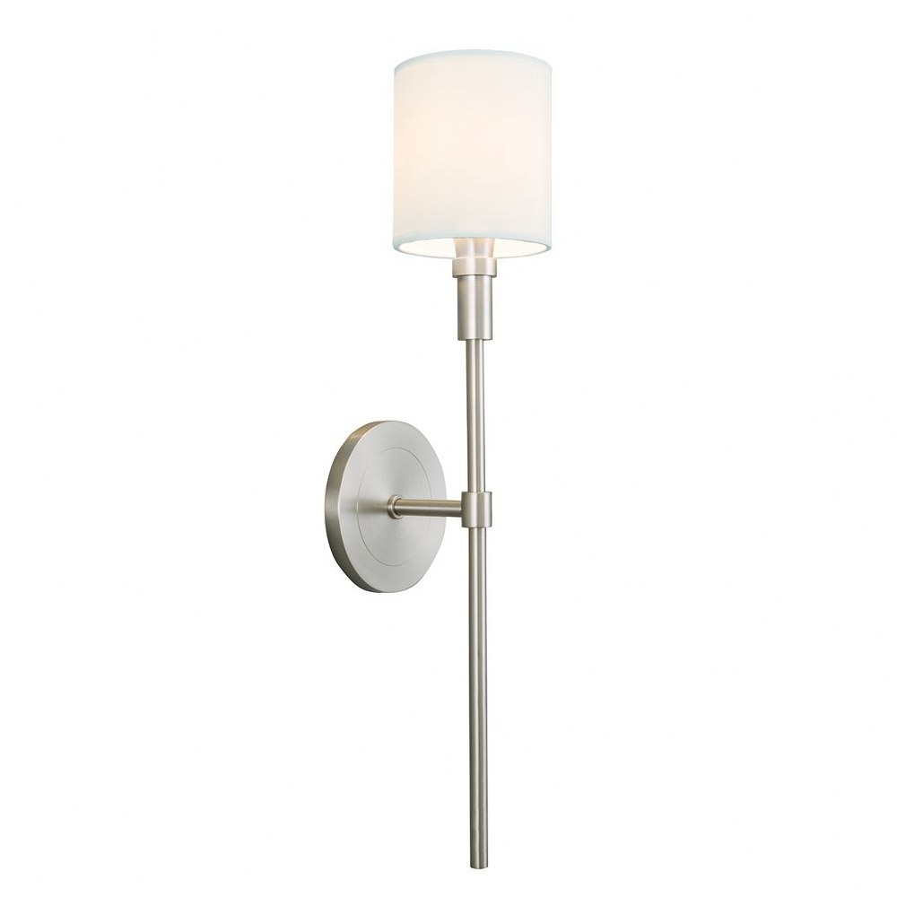 Norwell Lighting-8221-BN-WS-Zavier - One Light Candlestick Wall Sconce  Brush Nickel Finish with White Fabric Shade