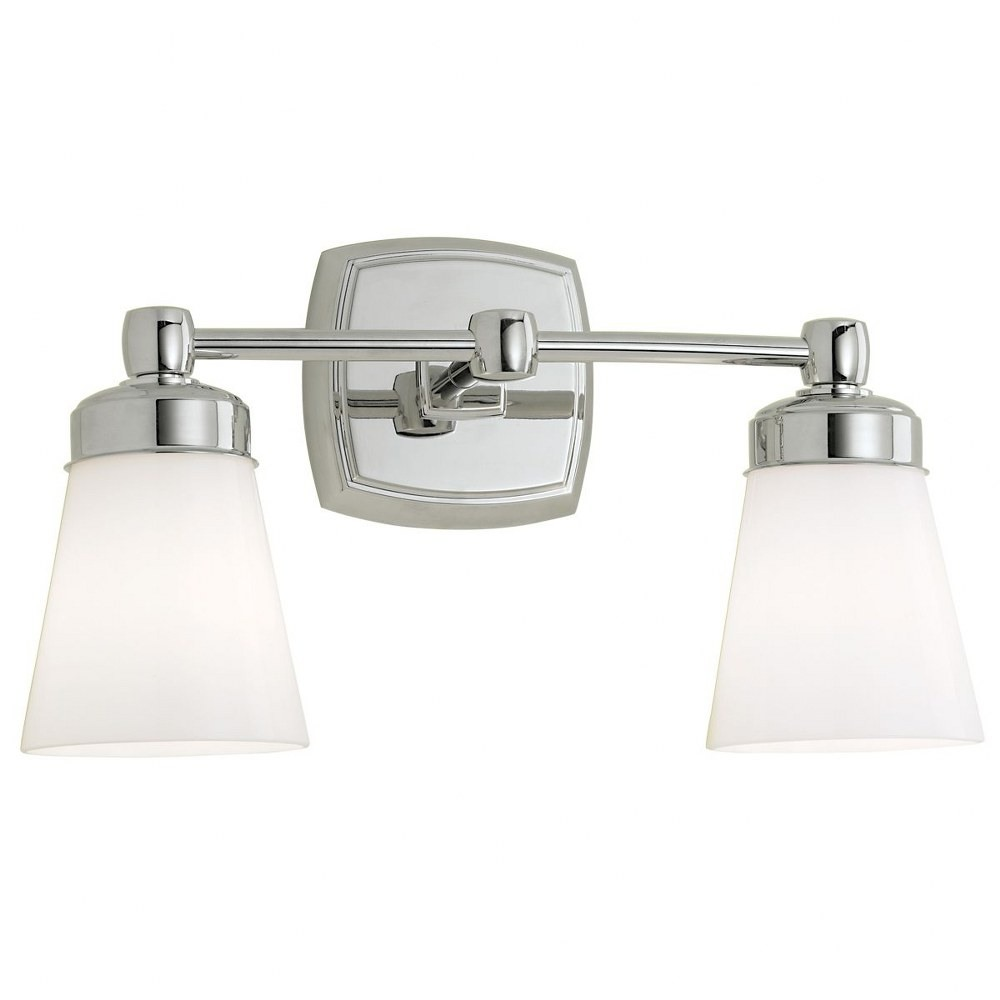 Norwell Lighting-8932-CH-SO-Soft Square - Two Light Wall Sconce  Chrome Finish with Shiny Opal Glass