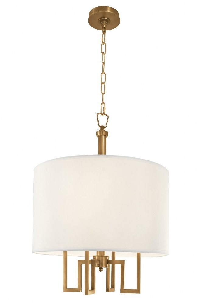 Norwell Lighting-9677-AG-WS-Maya - Four Light 4 Arm Chandelier  Aged Brass Finish with White Fabric Shade