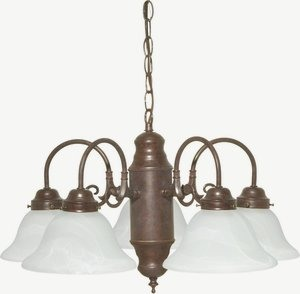 Nuvo Lighting-60/1291-Five Light Chandelier  Old Bronze Finish with Alabaster Glass