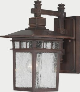 Nuvo Lighting-60/4958-Cove Neck - One Light Outdoor Wall Lantern  Rustic Bronze Finish with Clear Seeded Glass