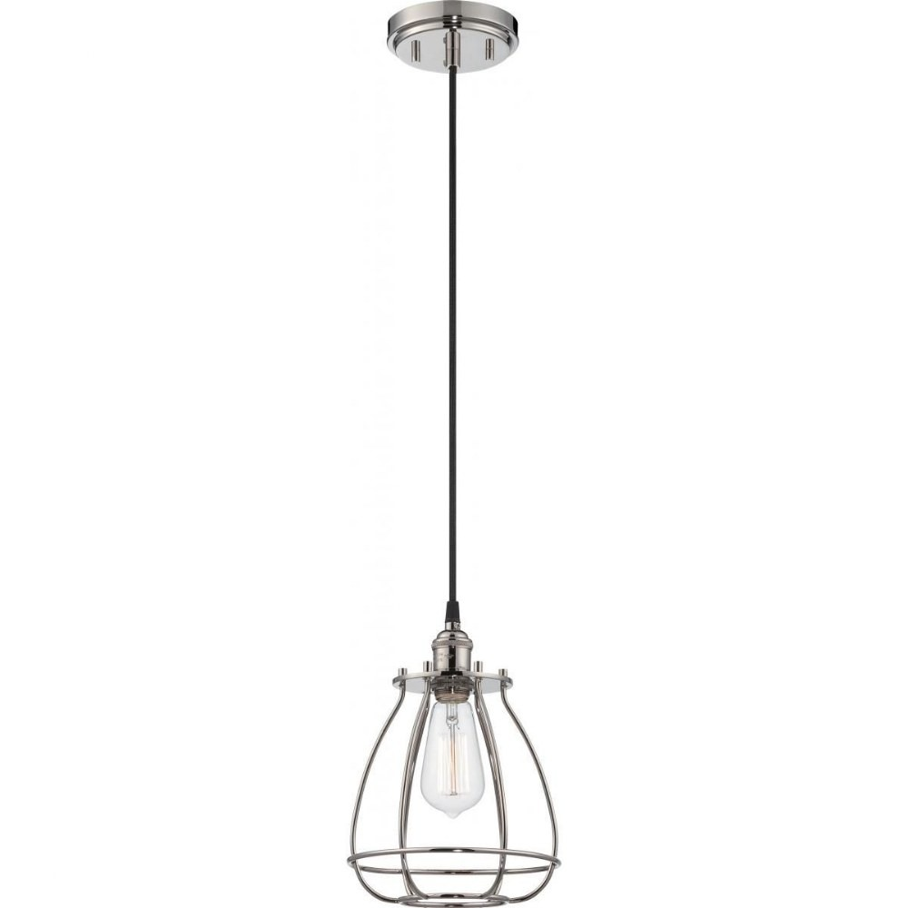 Nuvo Lighting-60/5401-Vintage - One Light Caged Pendant  Polished Nickel Finish