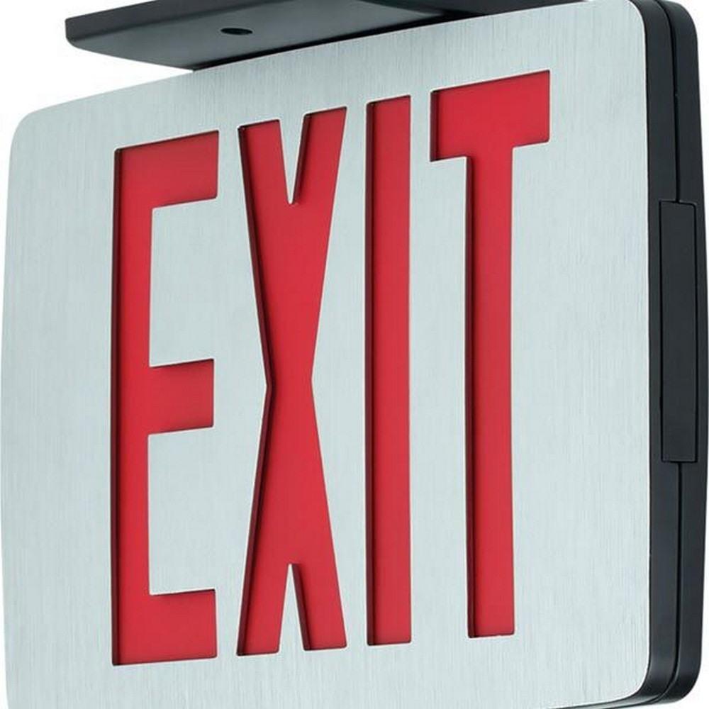 Progress Commercial Lighting-PEALE-DR-EM-16-11.6 Inch 1W LED Double Sided Exit/Emergency Sign Light  Brushed Aluminum/White/Red Finish