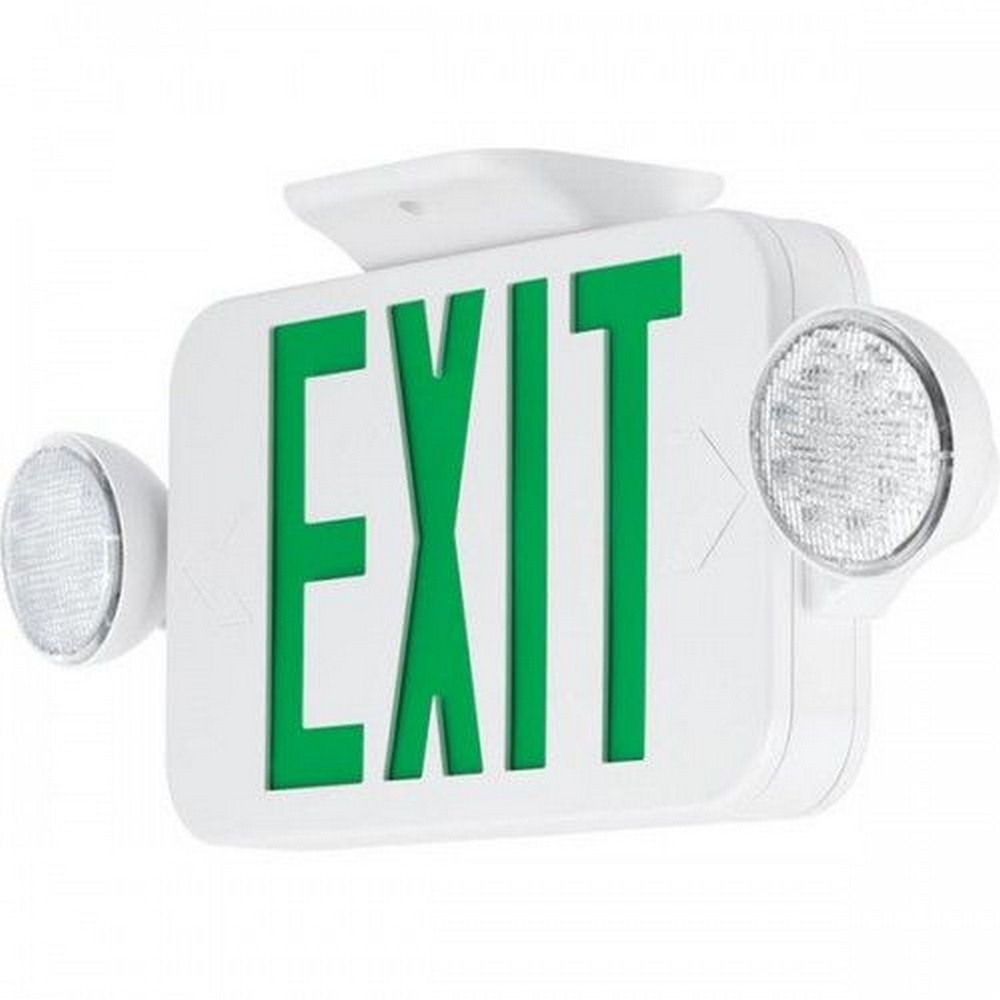 Progress Commercial Lighting-PECUE-UG-30-18 Inch 3.2W LED Universal Exit/Emergency Sign Light  White/Green Finish