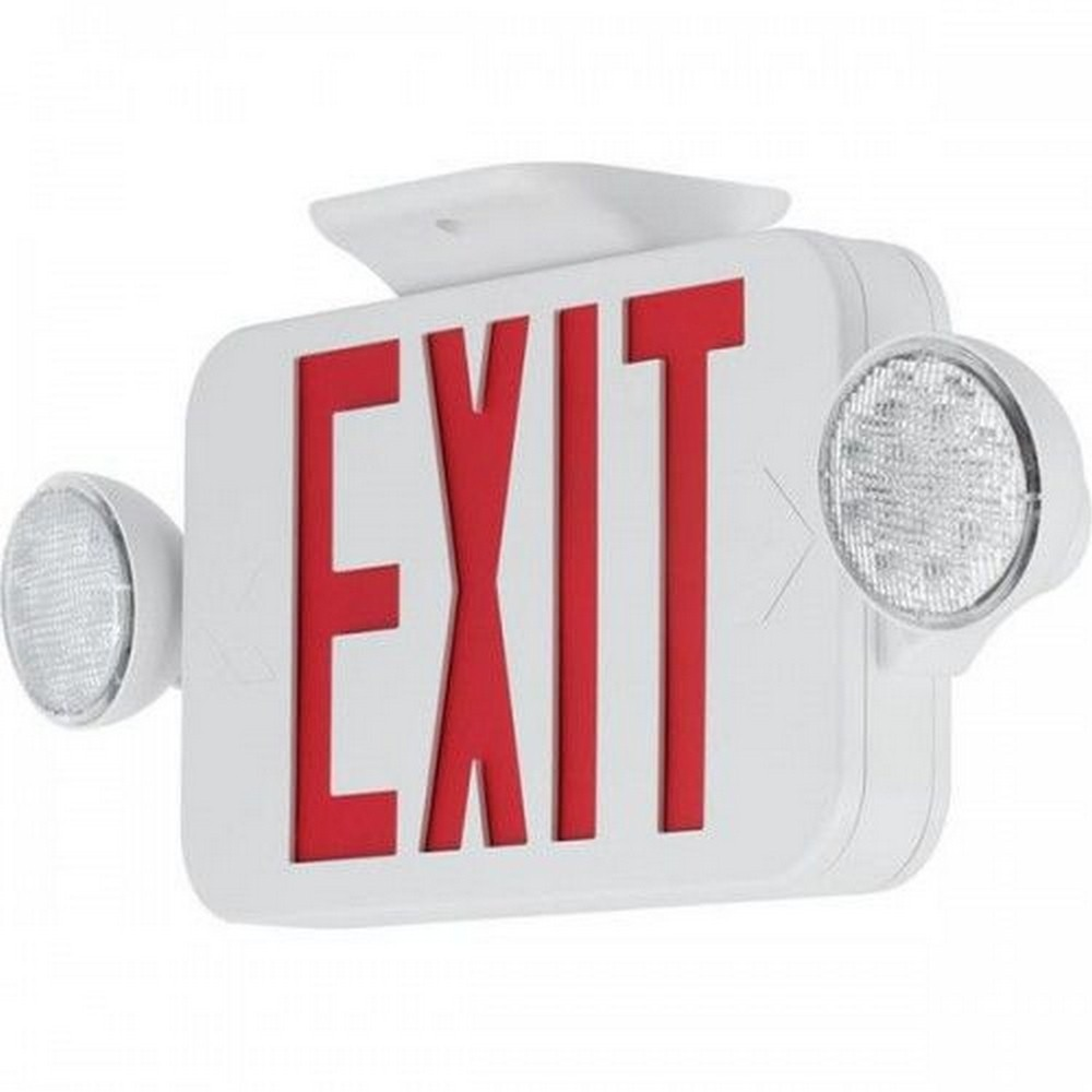 Progress Commercial Lighting-PECUE-UR-30-18 Inch 3.18W LED Universal Exit/Emergency Sign Light  White/Red Finish