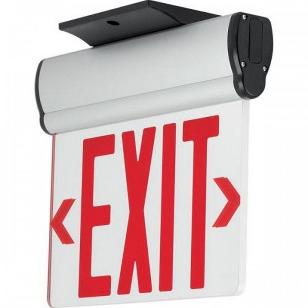 Progress Commercial Lighting-PEERE-DR-16-12.7 Inch 3.72W LED Double Recessed Mount Exit/Emergency Sign Light with Battery  Brushed Aluminum/Red Finish