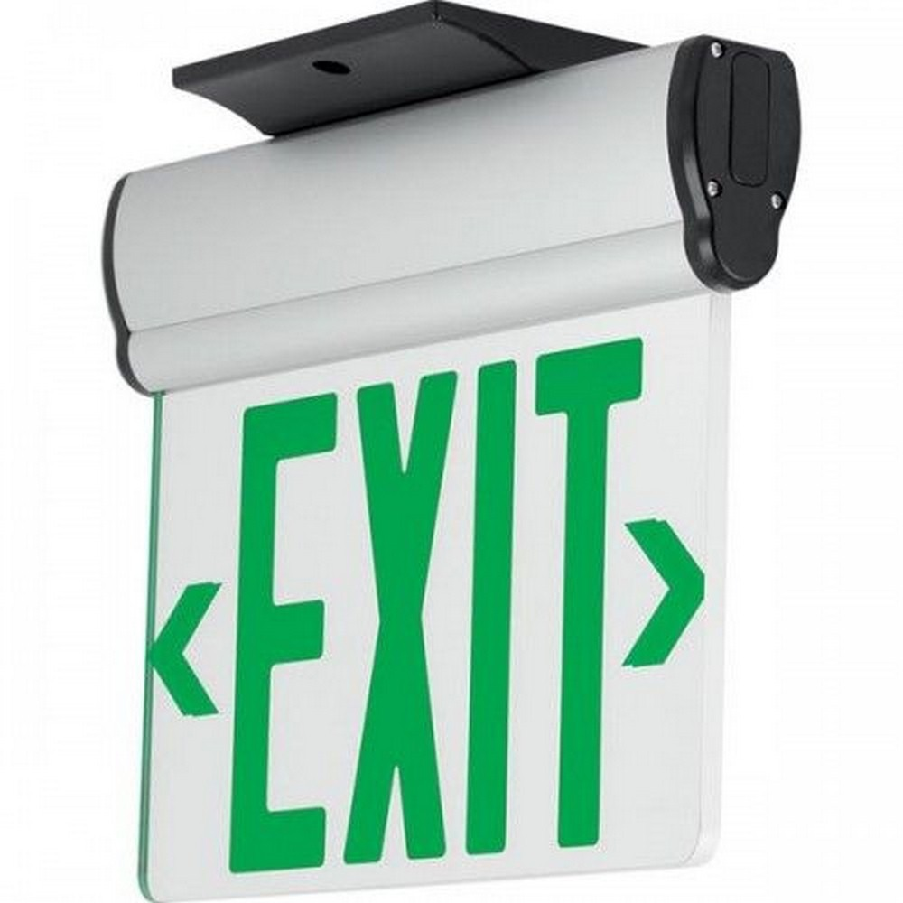 Progress Commercial Lighting-PEESE-DG-16-12.7 Inch 3.72W LED Double Surface Mount Exit/Emergency Sign Light with Battery  Brushed Aluminum/Green Finish