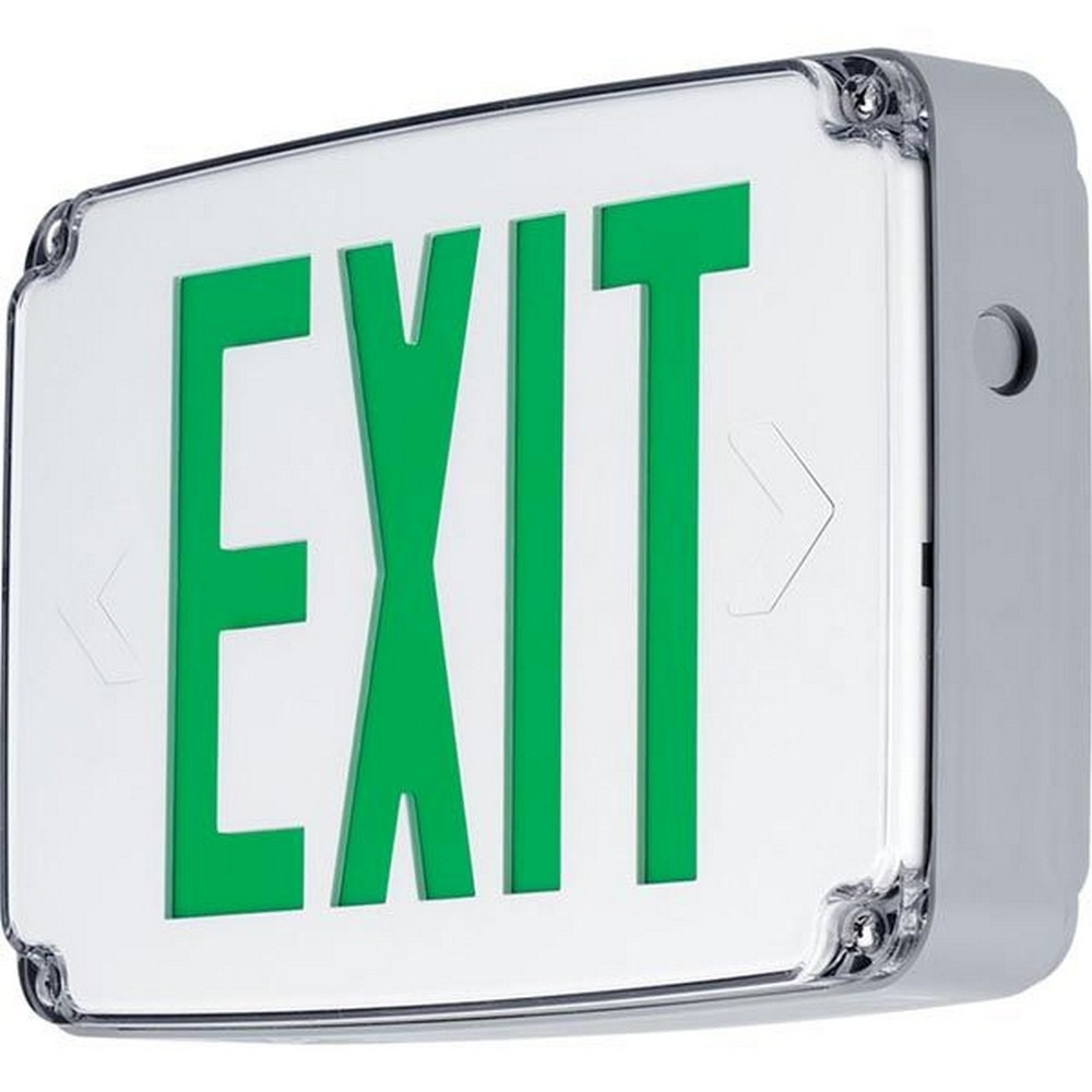 Progress Commercial Lighting-PEWLE-SG-30-12.5 Inch 2.7W LED Single Side Emergency Exit Sign Light  White/Green Finish