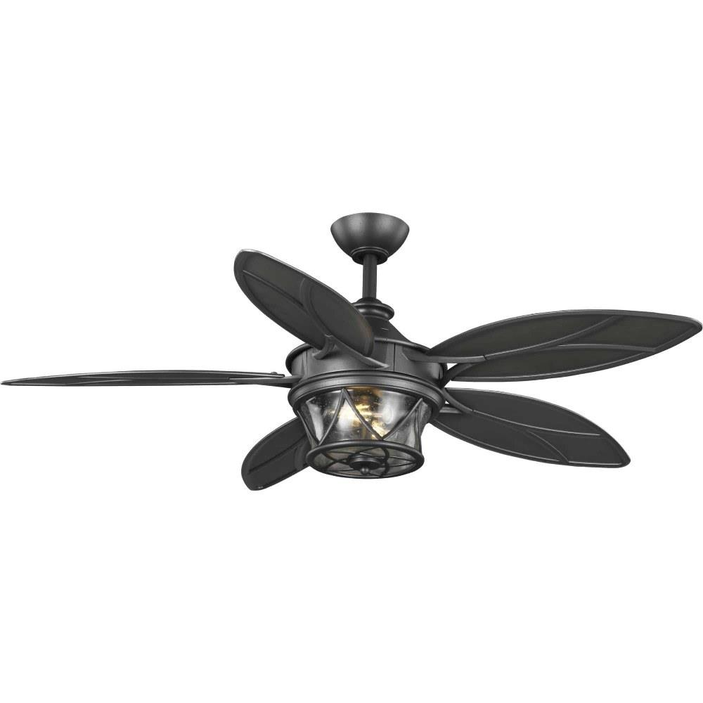 Progress Lighting P250034 Alfresco 54 Inch Wide Ceiling Fan 2 Light Handheld Remote Damp Rated