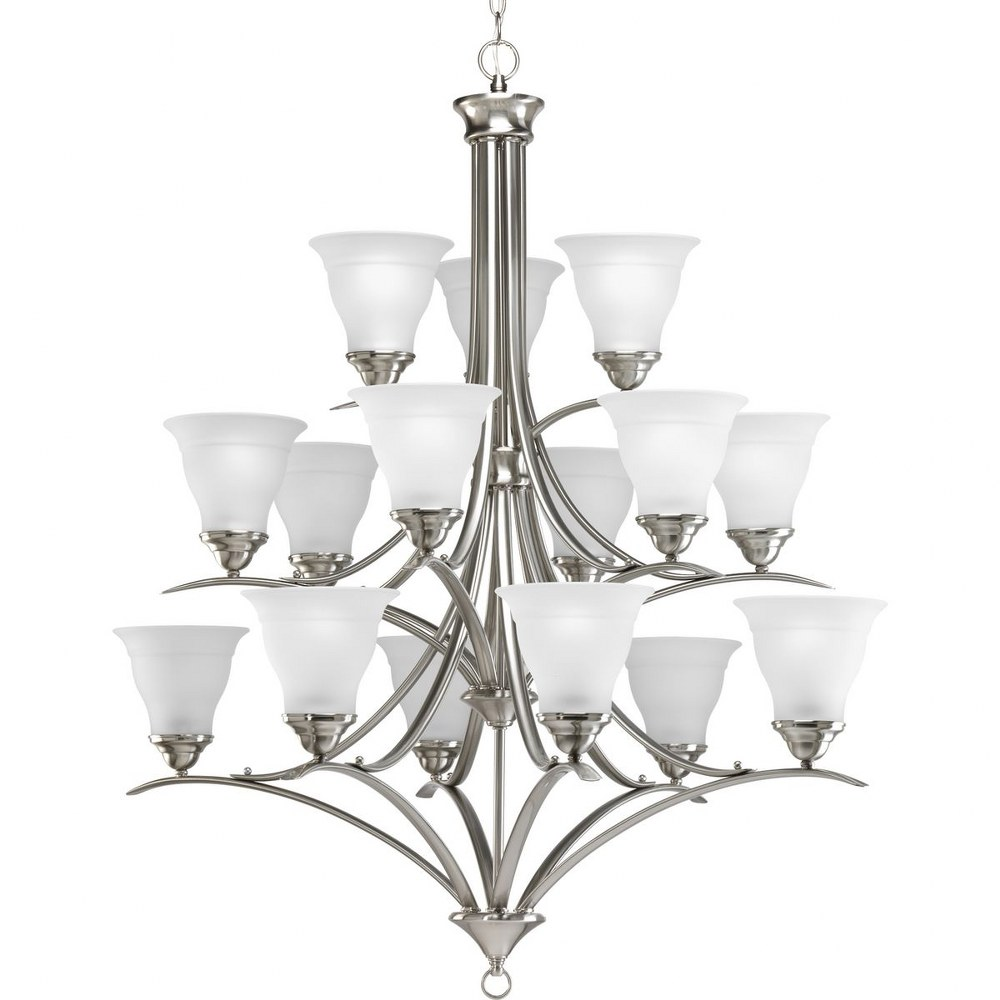 Progress Lighting-P4365-09-Trinity - 43.625 Inch Height - Chandeliers Light - 15 Light - Line Voltage  Brushed Nickel Finish with Etched Glass