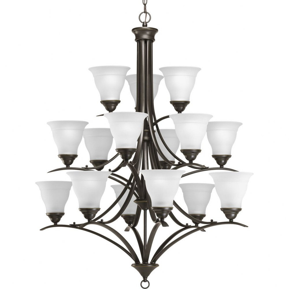 Progress Lighting-P4365-20-Trinity - 43.625 Inch Height - Chandeliers Light - 15 Light - Line Voltage  Antique Bronze Finish with Etched Glass