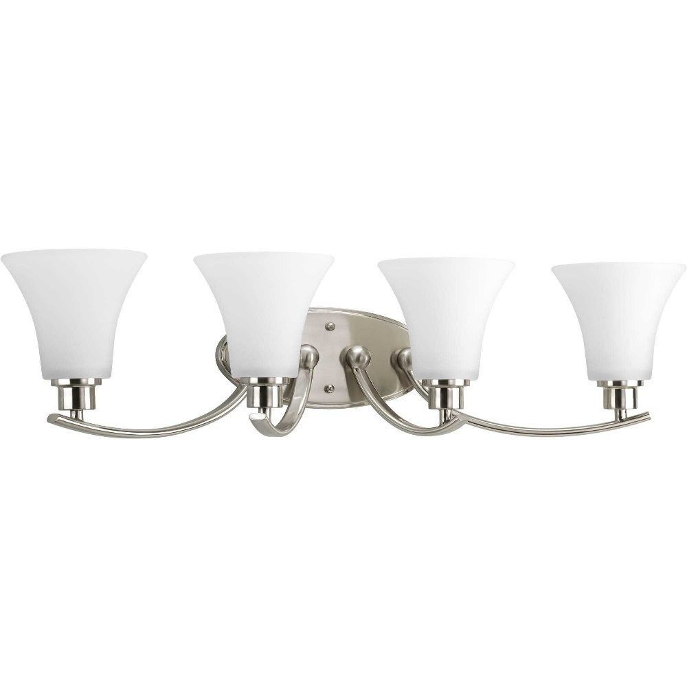 Progress Lighting-P2003-09-Joy - 30 Inch Width - 4 Light - Line Voltage - Damp Rated  Brushed Nickel Finish with White Etched Glass