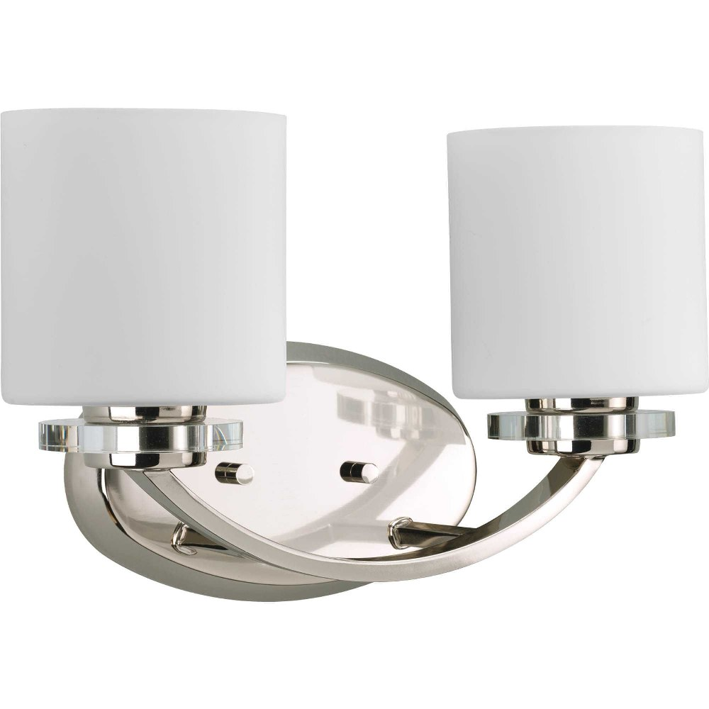 Progress Lighting-P2013-104-Nisse - 14.625 Inch Width - 2 Light - Line Voltage - Damp Rated  Polished Nickel Finish with Etched Opal Glasswith K9 Crystal
