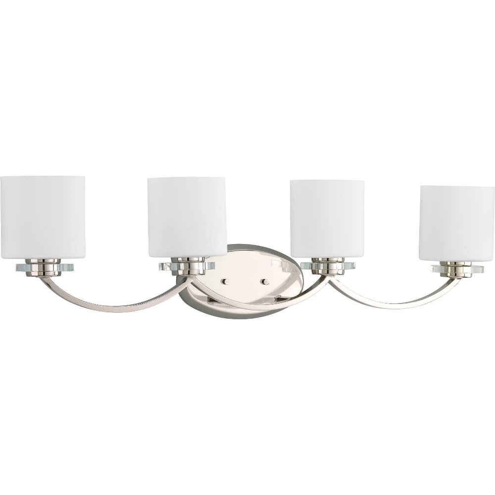 Progress Lighting-P2015-104-Nisse - 33.5 Inch Width - 4 Light - Line Voltage - Damp Rated  Polished Nickel Finish with Etched Opal Glasswith K9 Crystal