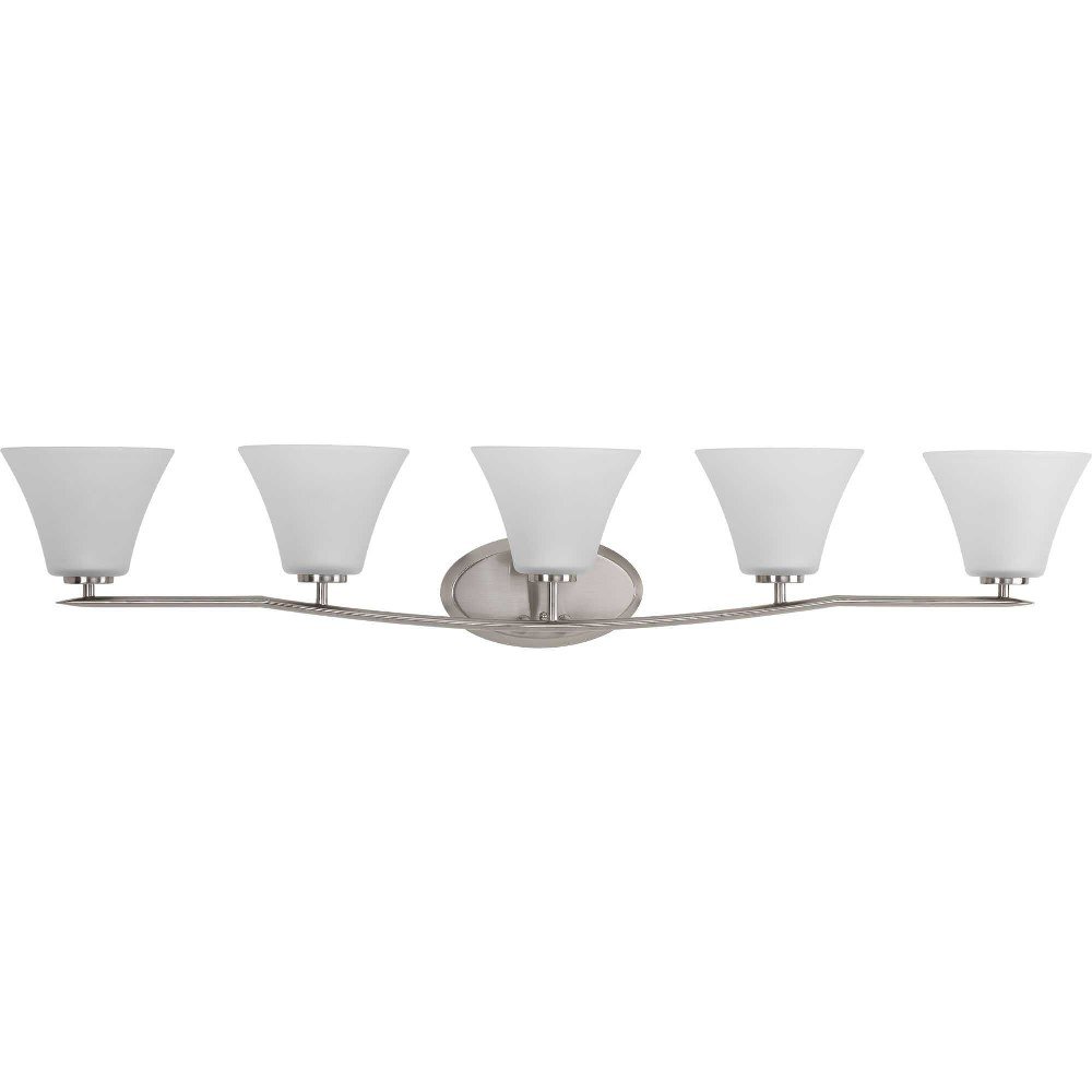 Progress Lighting-P2016-09-Bravo - 46.25 Inch Width - 5 Light - Line Voltage - Damp Rated  Brushed Nickel Finish with Etched Glass