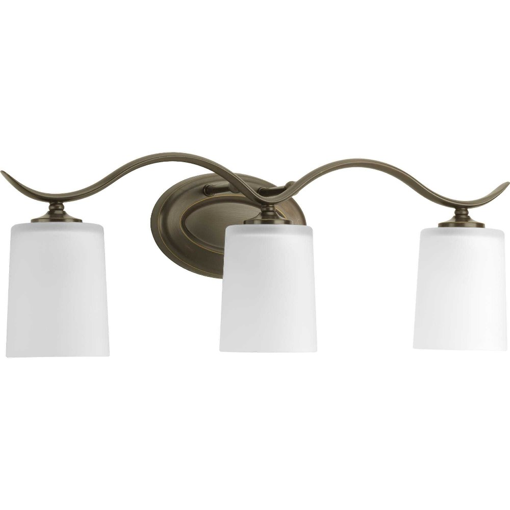 Progress Lighting-P2020-20-Inspire - 22.375 Inch Width - 3 Light - Line Voltage - Damp Rated  Antique Bronze Finish with White Etched Glass