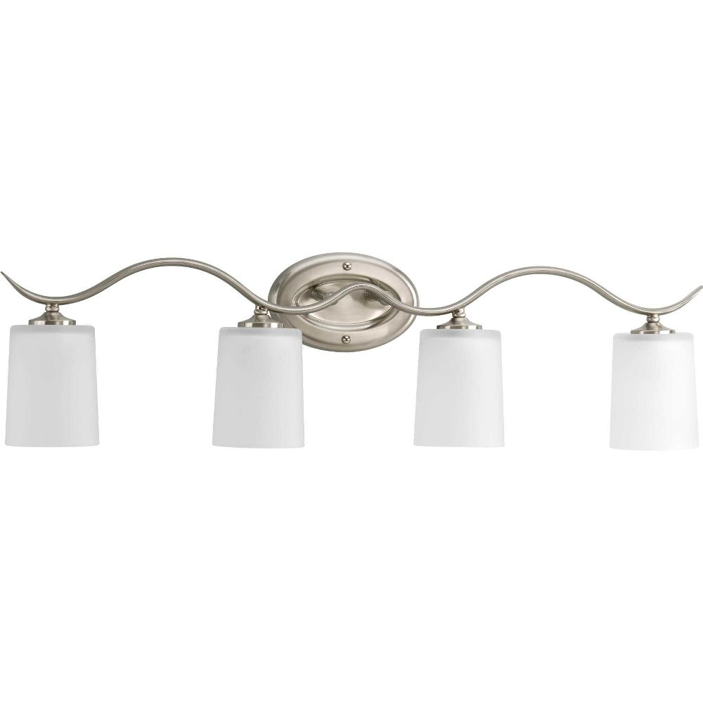 Progress Lighting-P2021-09-Inspire - 31.375 Inch Width - 4 Light - Line Voltage - Damp Rated  Brushed Nickel Finish with White Etched Glass