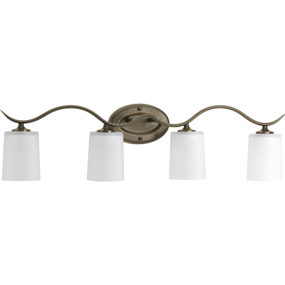 Progress Lighting-P2021-20-Inspire - 31.375 Inch Width - 4 Light - Line Voltage - Damp Rated  Antique Bronze Finish with White Etched Glass