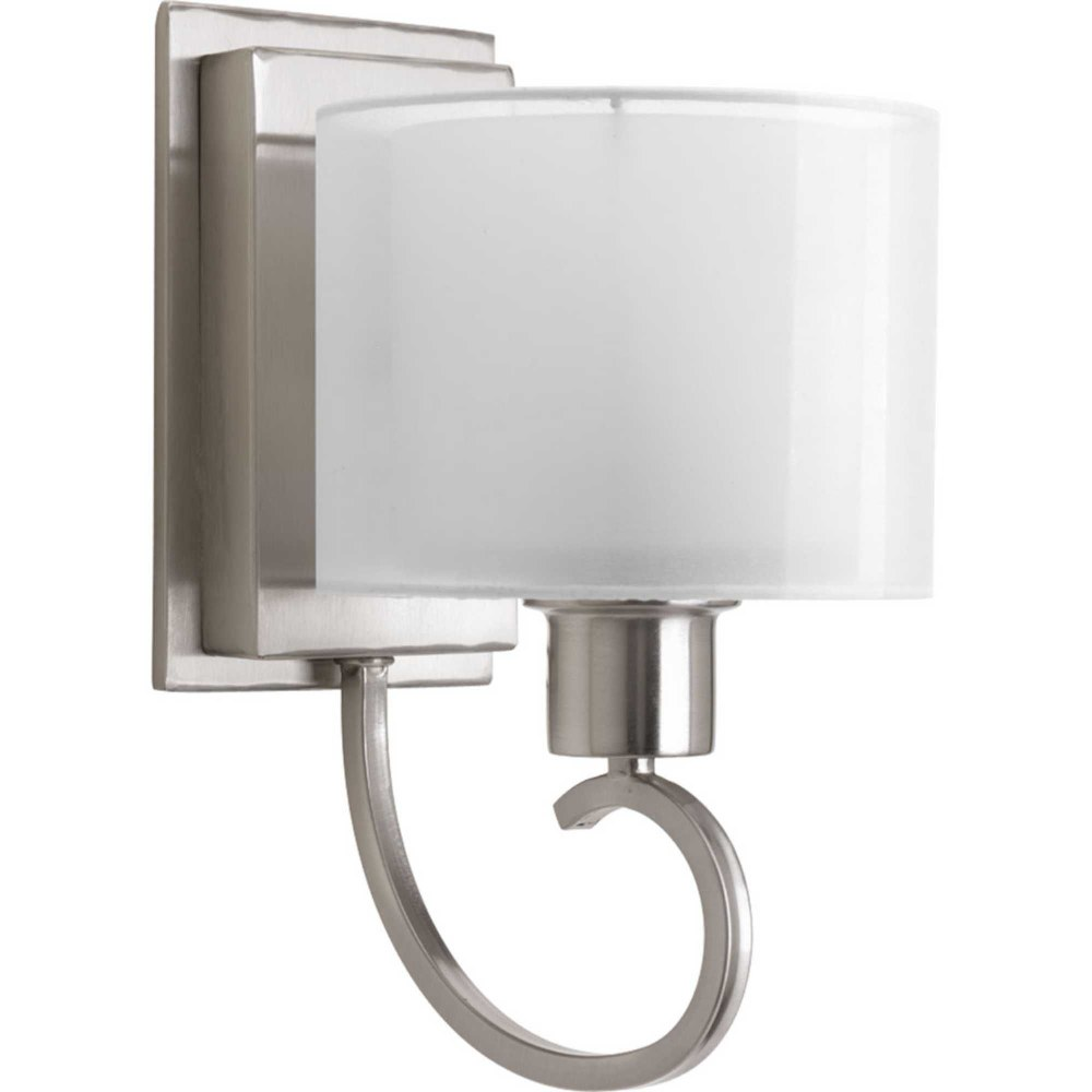 Progress Lighting-P2041-09-Invite - 6.5 Inch Width - 1 Light - Line Voltage - Damp Rated  Brushed Nickel Finish with White Glass with Silk Mylar Shade