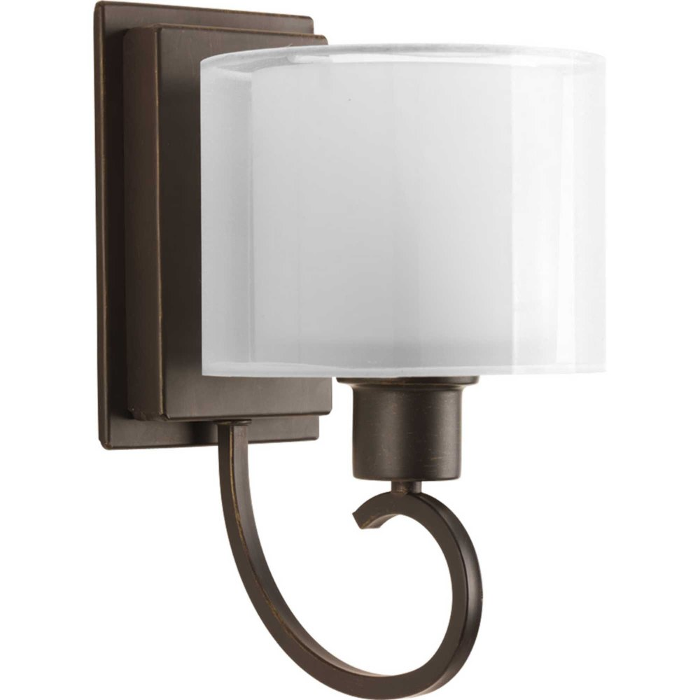 Progress Lighting-P2041-20-Invite - 6.5 Inch Width - 1 Light - Line Voltage - Damp Rated  Antique Bronze Finish with White Glass with Silk Mylar Shade
