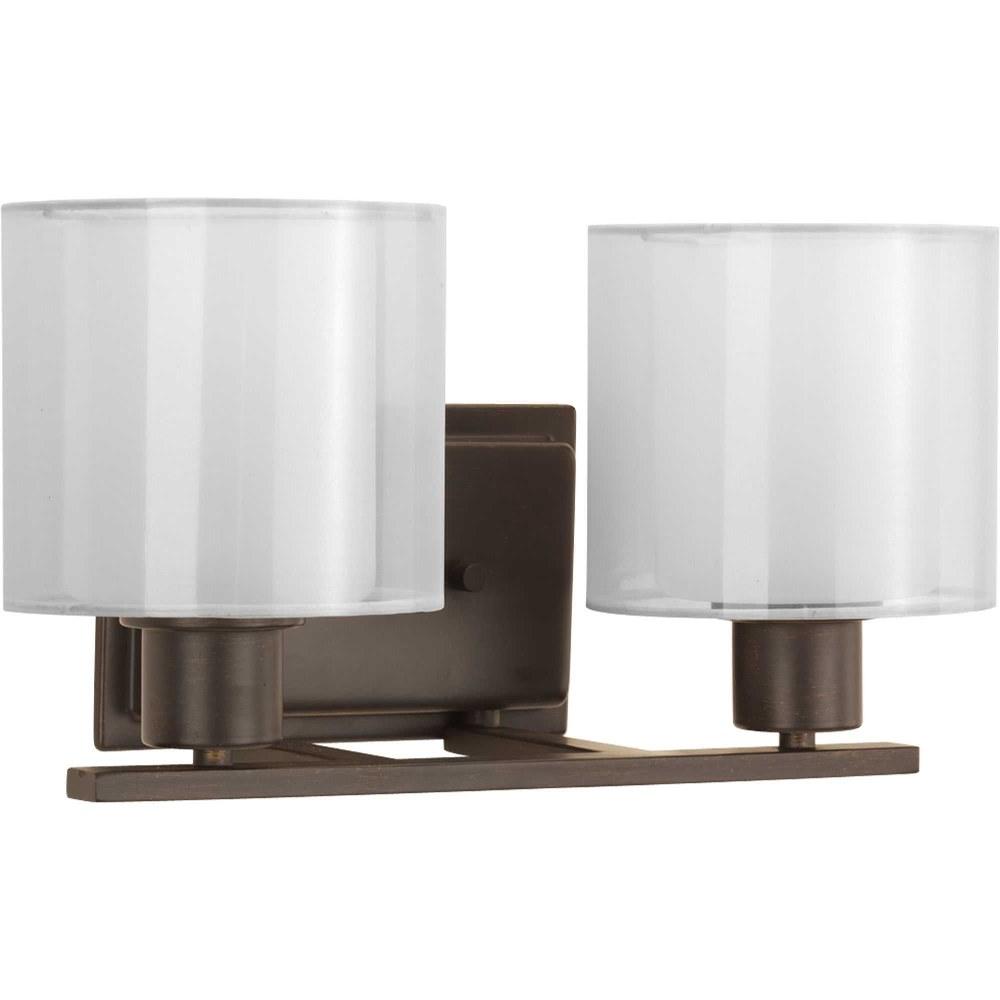 Progress Lighting-P2078-20-Invite - 14.5 Inch Width - 2 Light - Line Voltage - Damp Rated  Antique Bronze Finish with White Silk Mylar Shade