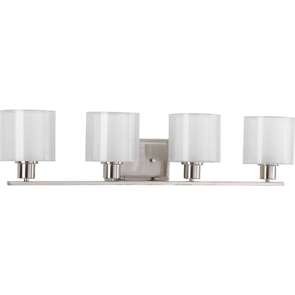 Progress Lighting-P2080-09-Invite - 32.5 Inch Width - 4 Light - Line Voltage - Damp Rated  Brushed Nickel Finish with White Silk Mylar Shade