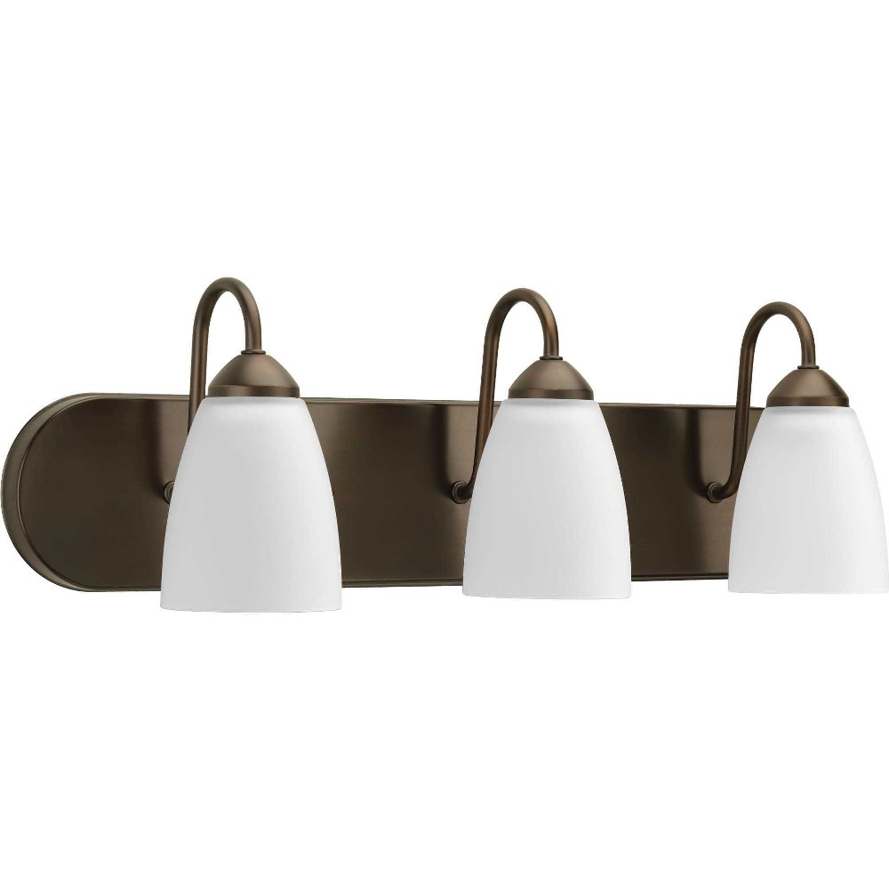 Progress Lighting-P2708-20-Gather - 24 Inch Width - 3 Light - Line Voltage - Damp Rated  Antique Bronze Finish with White Etched Glass