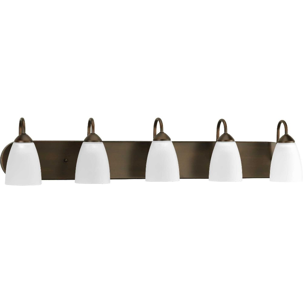 Progress Lighting-P2713-20-Gather - 36 Inch Width - 5 Light - Line Voltage - Damp Rated  Antique Bronze Finish with White Etched Glass