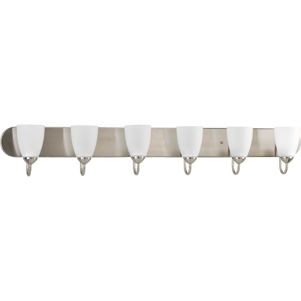 Progress Lighting-P2714-09-Gather - 48 Inch Width - 6 Light - Line Voltage - Damp Rated  Brushed Nickel Finish with White Etched Glass