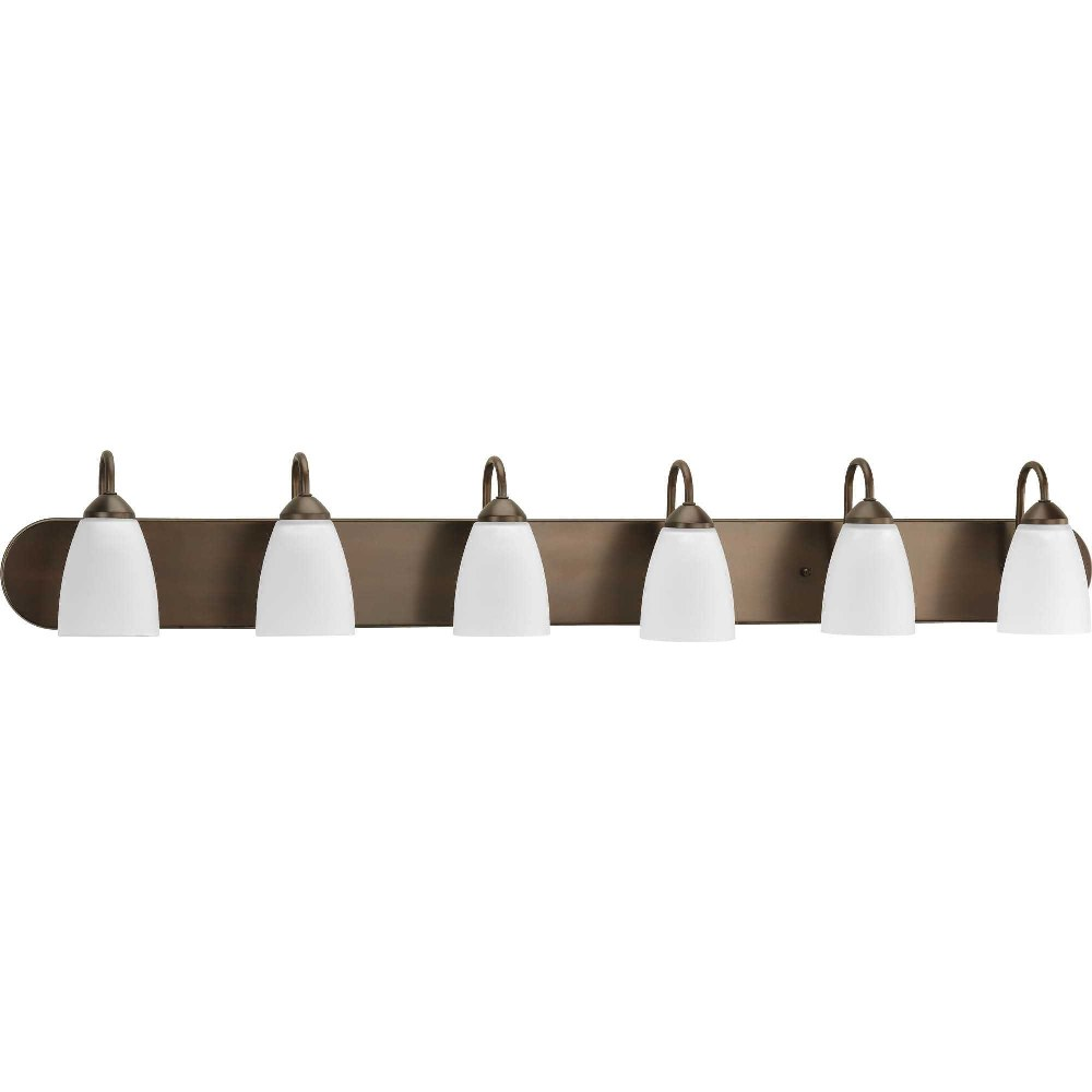 Progress Lighting-P2714-20-Gather - 48 Inch Width - 6 Light - Line Voltage - Damp Rated  Antique Bronze Finish with White Etched Glass