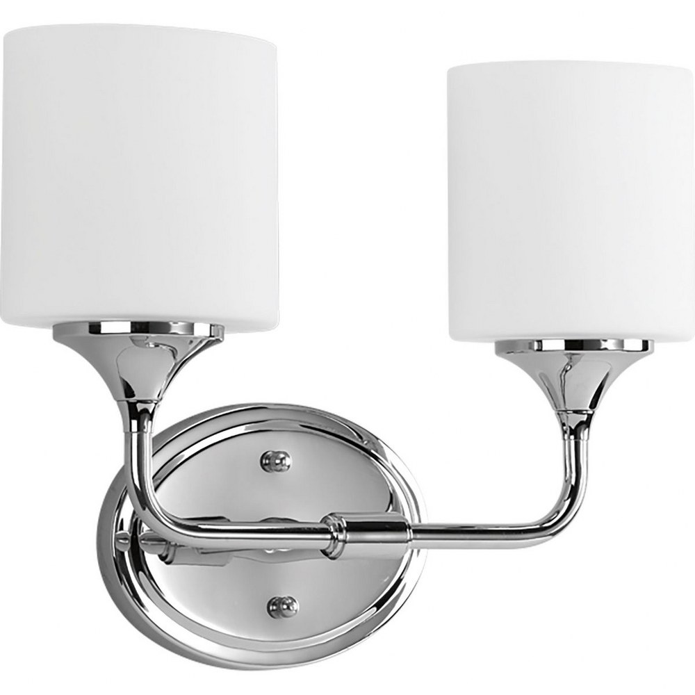 Progress Lighting-P2802-15-Lynzie - 14.5 Inch Width - 2 Light - Oval Shade - Line Voltage - Damp Rated  Polished Chrome Finish with White Etched Glass