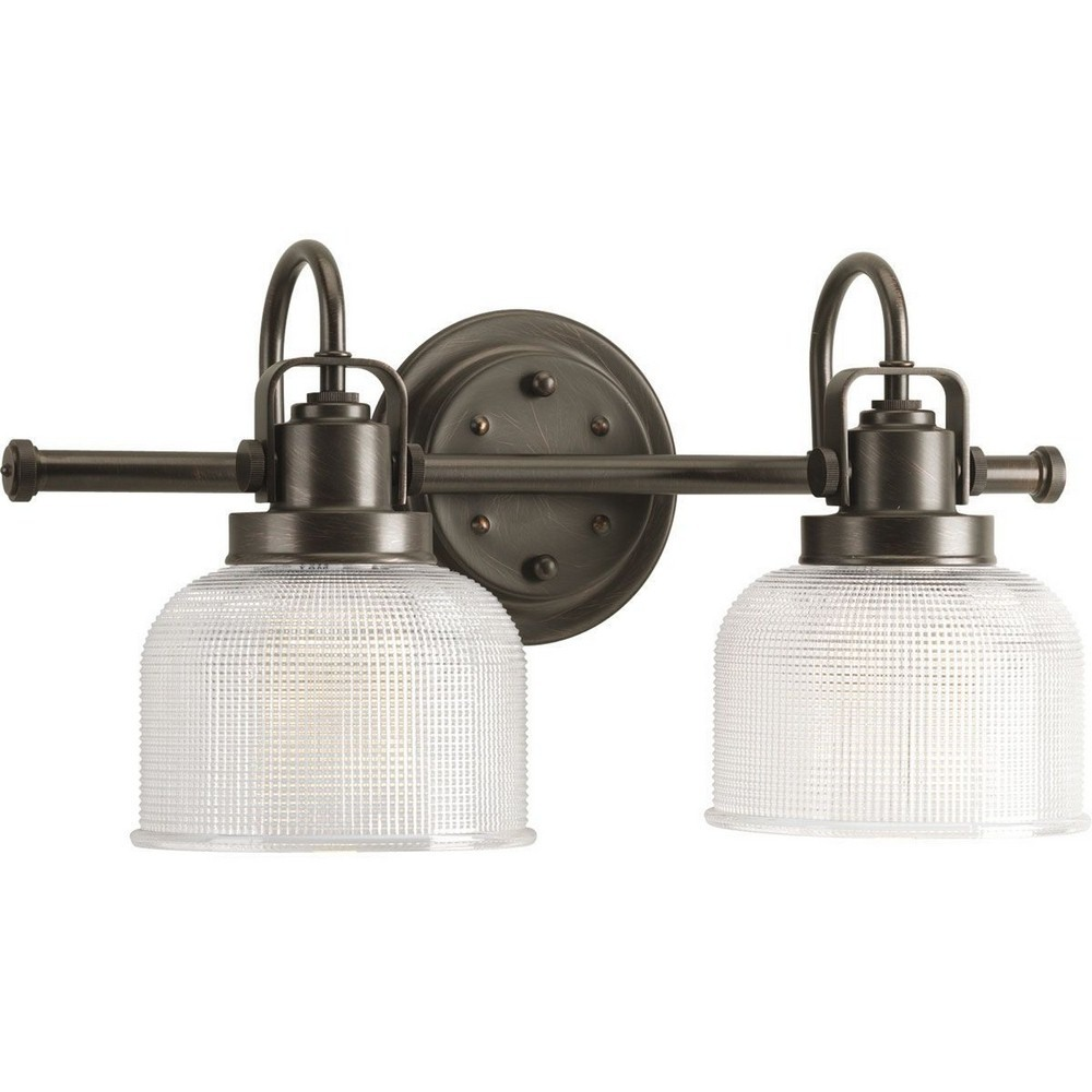 Progress Lighting-P2991-74-Archie - 17 Inch Width - 2 Light - Line Voltage - Damp Rated  Venetian Bronze Finish with Clear Double Prismatic Glass